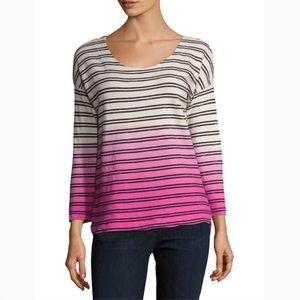 SPLENDID Dip Dye Ombré Stripe Pullover Sweatshirt